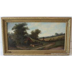 "Oil on canvas, ""Landscape"" 23.5""x11.75"", American  19th century, fair condition with in painting on"