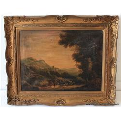 "Oil on canvas, ""Landscape"", 19""x17.5"", European  19th century unsigned, good condition, not  relined"