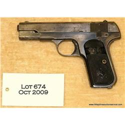 "Colt Model 1903 Hammerless Pocket semi-auto  pistol, .32 cal., 3-3/4"" barrel, blue finish,  checkere"