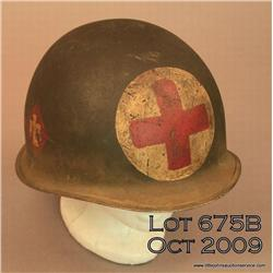Korean War Thunderbird division medics helmet.  No  lining.  Good condition.  Est. $150 - $300