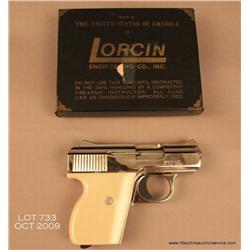"Lorcin Model L25 semi-auto pistol, .25 cal.,  2-1/2"" barrel, nickel finish, faux pearl grips,  #1364"