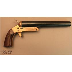Remington Mark III antique flare pistol, blue tip  up barrel, brass frame, wood grips, #NVSN. This