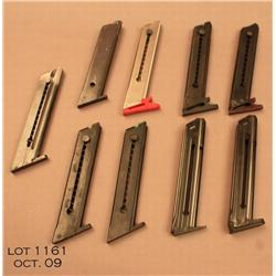 Lot of 9 .22 cal magazines for pistols; including  6 High Standard mags, and 3 Browning mags.  Est