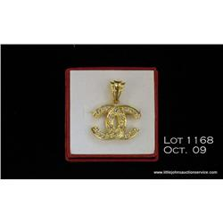 14kt yellow gold pendant, 5 grams with 14 full cut  diamonds totaling approx. 0.42 carat.  Est. $125