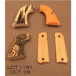 Lot of four pairs of grips including pair of bone  grips for a Colt 1911; a pair of faux stag for a