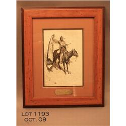 Framed and matted Golden Eagle Ltd. reproduction  of a classic Frederic  Remington etching of an  In