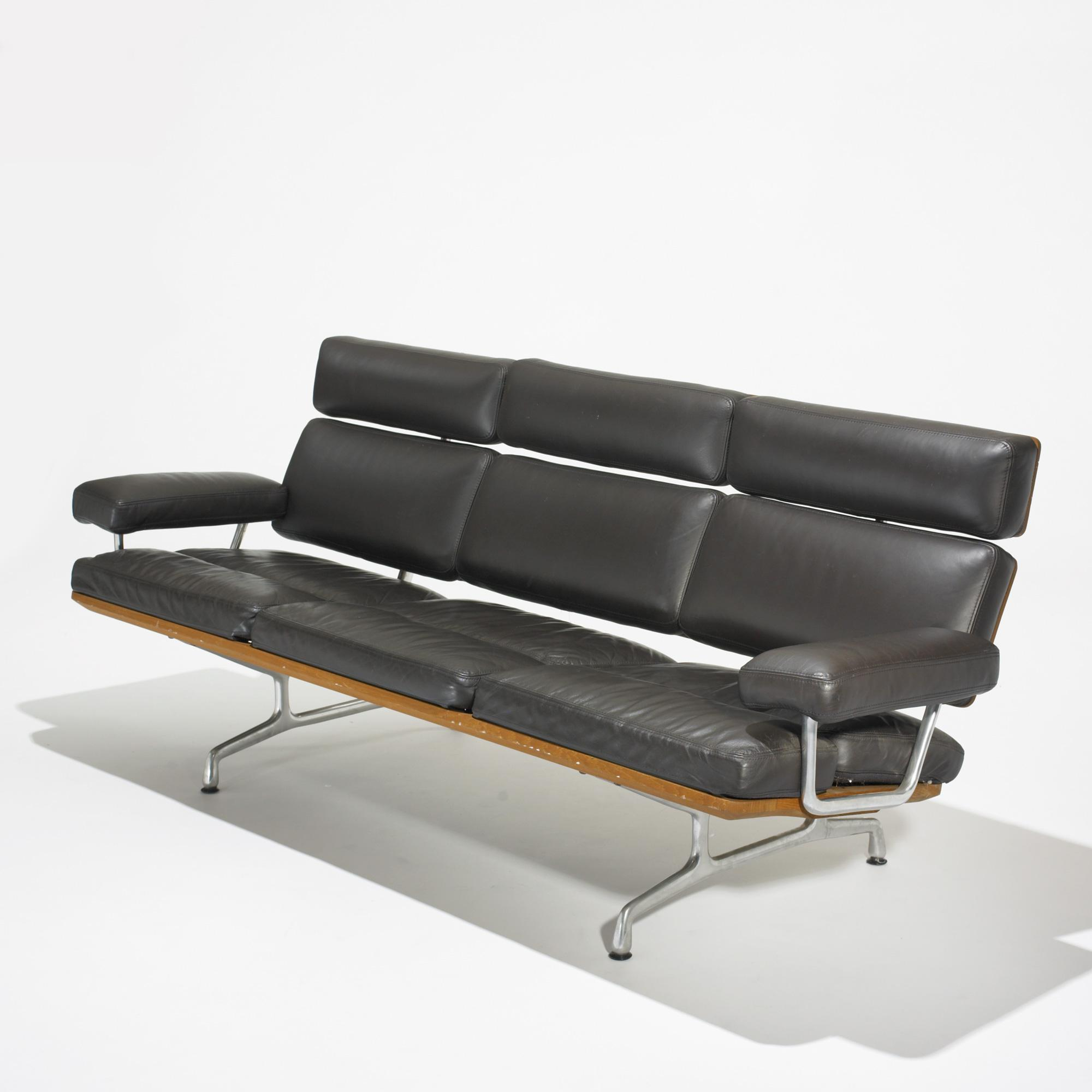 charles and ray eames teak and leather sofa