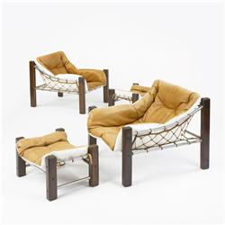 Jean Gillon lounge chairs and ottomans, pair