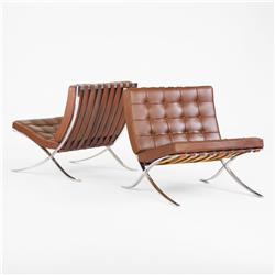 Ludwig Mies van der Rohe Barcelona chairs, pair