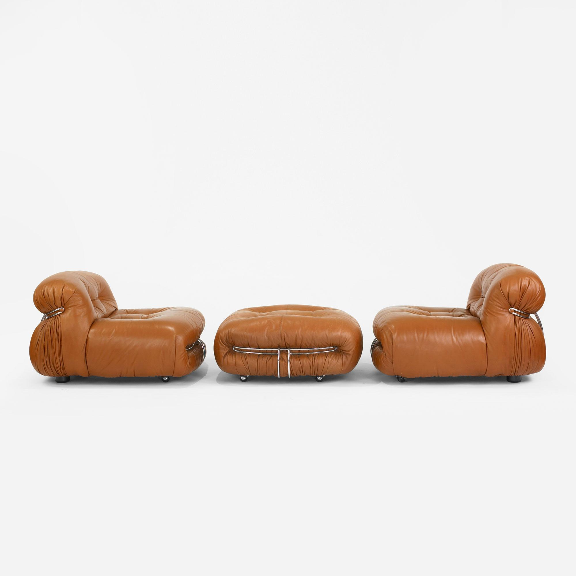 Afra And Tobia Scarpa Soriana Lounge Chairs Pair And Ottoman