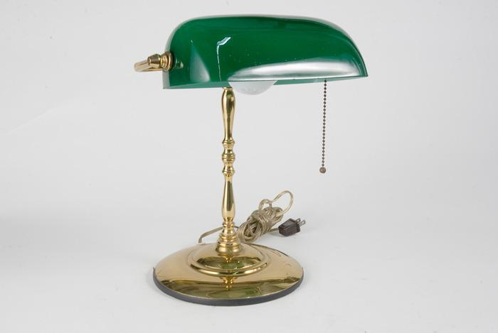 Brass Banker Style Desk Lamp With Green Glass Shade. Loading Zoom