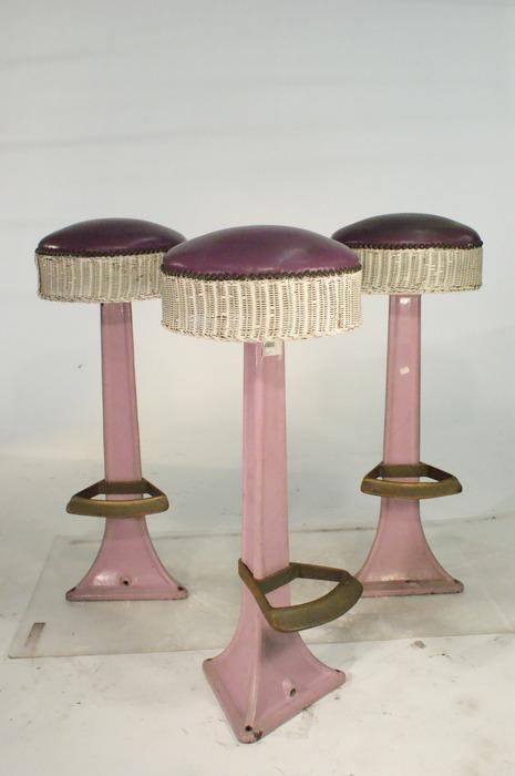 Vintage Iron Base Mid Century Purple Bar Stools with Woven  : 86779181 from www.icollector.com size 465 x 700 jpeg 25kB