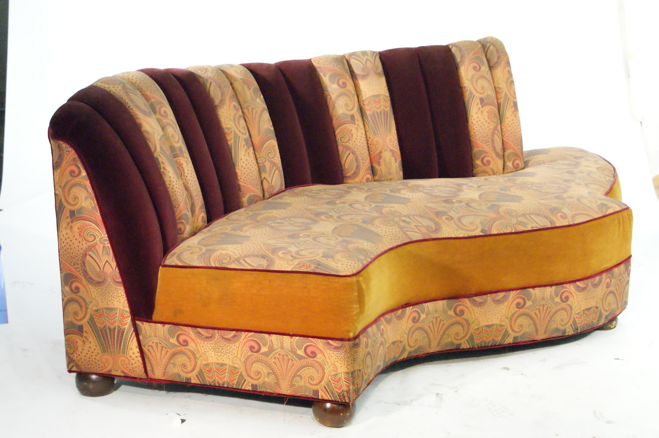 vintage jazz style kidney shaped art deco sofa with shell back. Black Bedroom Furniture Sets. Home Design Ideas