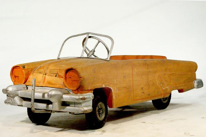 Wood Pedal Car : Solid wood pedal car with metal wind shield and rubber tires