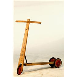 Vintage 1950's Wood 3-Wheel Scooter