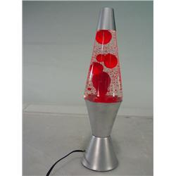 small silver base lava lamp with red lava. Black Bedroom Furniture Sets. Home Design Ideas
