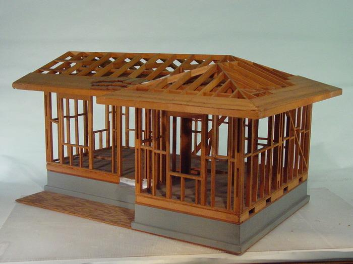 Lovely Hand Build Architectural Wood Framework Model House. Loading Zoom