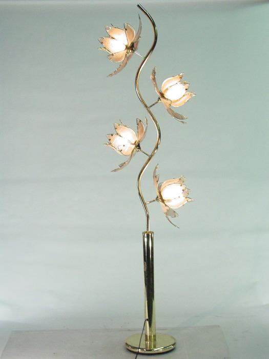Extra Large Brass Tree Floor Lamp With 4 Glass Floral Fixtures. Loading Zoom
