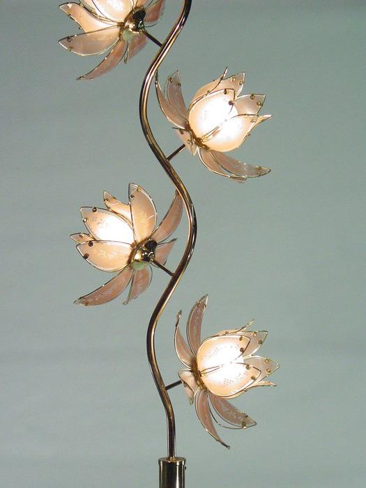 Extra Large Brass Tree Floor Lamp With 4 Glass Floral Fixtures
