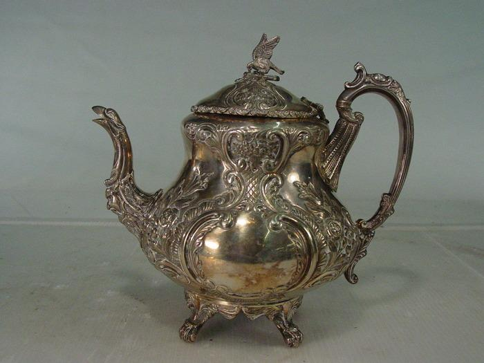 Decorative Antique Style Silver Teapot