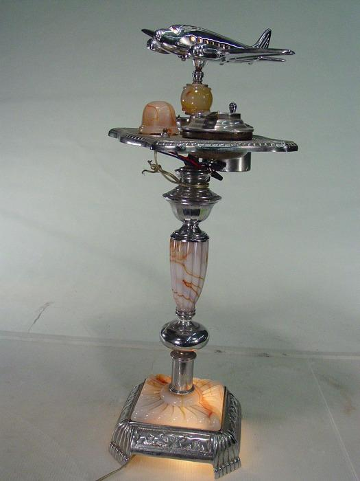 Vintage Art Deco Smoke Stand With Light Marbleized Glass