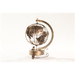 Brass Art Wire Frame Music Box Globe