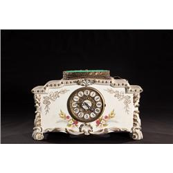 Ornate Ceramic Mantle with Brass Electric Clock