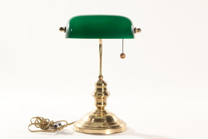 Stylish Turn of the Century Brass/Green Bankers Lamp
