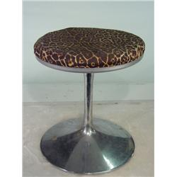 Vintage Leopard Print Vanity Stool with Chrome Base