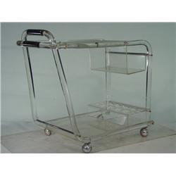 Vintage Acrylic Rolling Cart with Chrome Handles and Wheels