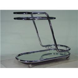 Vintage Post Modern 1970's Chrome and Glass Tea Cart