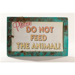 "PLANET of the APES Screen Used ""Please Do Not Feed The Animals"" Paper Sign 20"" X 17"""