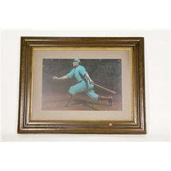 "Vintage Framed Art Deco Style Swinging Baseball Player 29""X38"""
