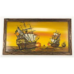 "Vintage Framed Prop Art Acrylic Pirate Ships 48"" Wide"
