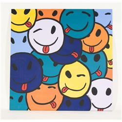 "Vintage Groovy Acrylic Prop Art Smiley Faces with Raspberry Face 48"" X 48"""