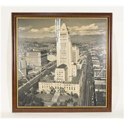 Vintage Downtown Los Angeles Supreme Court Picture-City Hall 46x46