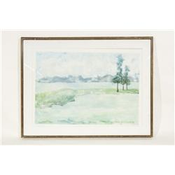 Ocean Views Framed Watercolor Painting