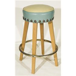 Vintage Mid Century Style Blonde Wood Bar Stool with Nail Trim