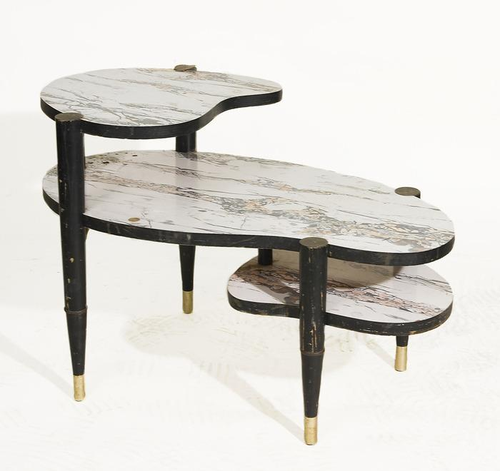 Marble Kidney Coffee Table: Atomic 1950's Kidney Shaped 3-Tier Side Table With Marble