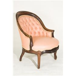 Queen Anne Style Arm Chair with Tufted Seat Cover