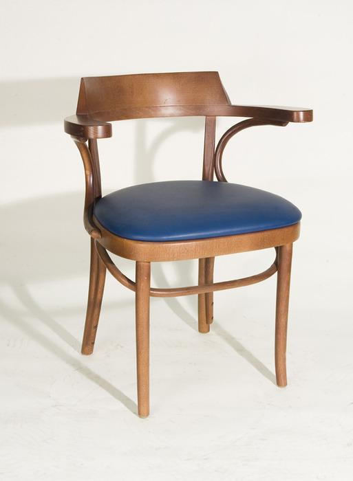 vintage thonet style bentwood arm chair vinyl seat blue. Black Bedroom Furniture Sets. Home Design Ideas