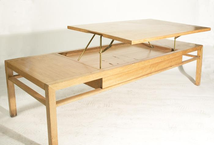 Vintage 1950 39 s blonde rectangular coffee table with hinged for Coffee table with hinged top