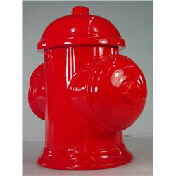 Vintage Ceramic Red Fire Hydrant Cookie Jar with Lid