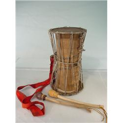 "Tribal Drum with Stretch Leather Top and Drum Sticks 15"" Tall"