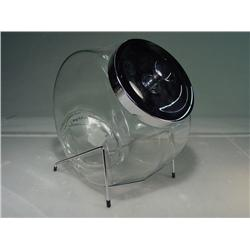 "Store Display Glass Candy Jar with Chrome Stand 12"" Tall"