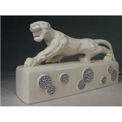 "1960's Ceramic White Panther Table Lamp (Signed by Kral) 8"" X 16"""