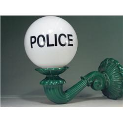 "Vintage Spelter Metal Outdoor Sconce with Police Station Globe 16"" Tall"