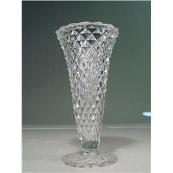 "Vintage Slim Cut Glass Flower Vase 8"" Tall"