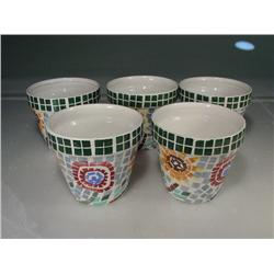 "1960's Mosaic Printed Pottery (Set of 5) 4 /12"" Tall"