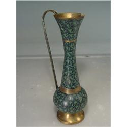 "Cloisonné Green Enamel Brass Pitcher Vase 12"" Tall"
